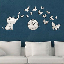 Elephants play Butterfly Sticker DIY Mirror Wall Clock Wall Sticker Home Nice