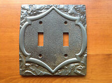 Vintage Pewter Silver Amerock Monterey Double Switch Plate Cover