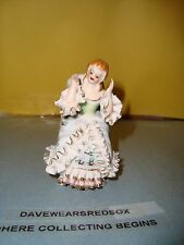 Vintage Bone China Lace Girl Figurine Sitting In Chair / Victorian EX Condition