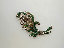 Vintage REJA Enamel Floral Spray PIN PEARLS Rhinestones GARDEN LEAVES
