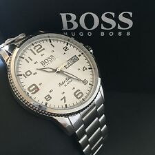 BOSS HUGO BOSS Men's Pilot Edition Silver Tone Stainless Steel Watch 1513328 NWT