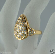 WOMAN'S RING GOLD PLATED,TEAR DROP W/ PAVE WHITE TOPAZ RHINESTONE SIZE 7 3/4