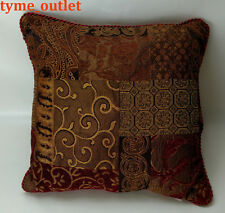 "Croscill Decorative Pillow Galleria Red / Gold Patchwork 16"" x 16"""