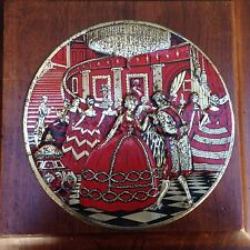 Vintage Red Gold Tone Metal Fruit Cake Tin w/ Embossed Victorian Ballroom Scene