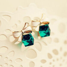 Rhinestone Emerald Stud Earrings 18k Gold Plated Bowknot Statement Gift