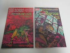 Lot 2 TOPPS COMICS Jurassic Park Raptor Comic Books #1 #2 with Zorro #0 & Cards