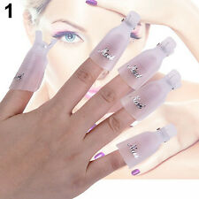 10x Stylish Plastic Nail Art Soak Off Clip Cap UV Gel Polish Remover Wrap Tool
