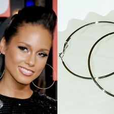 "3 1/2"" SUPER BIG ~90mm HUGE Silver plated Large HOOP~ Circle Celebrity Earrings"