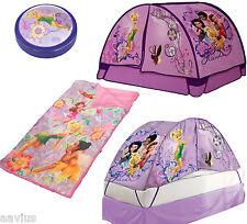 Disney Fairies Tinkerbell 3-Piece Dream Set Girls Sleeping Bag Tent Push Light