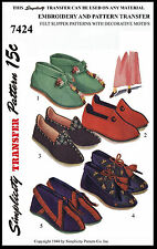 Felt Fabric SLIPPER Shoe Sewing Pattern SIMPLICITY # 7424 Vintage Boot Slippers