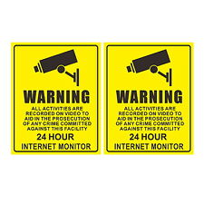 2x CCTV In Operation Warning Stickers Safety Security Camera Adhesive Signs PACK
