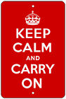 "8""x12"" METAL SIGN - KEEP CALM AND CARRY ON - Novelty bar man cave basement decor"