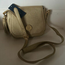 NEW ARRIVAL! TOMMY HILFIGER GOLD FLAP CROSSBODY MESSENGER SLING BAG $69 SALE