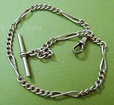 Antique Victorian Solid Sterling Silver Fob Pocket Watch Albert Chain