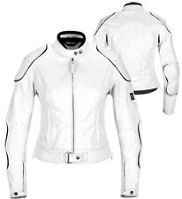 LADIES WHITE HORIZON WOMENS CE ARMOURS MOTORBIKE / MOTORCYCLE LEATHER JACKET