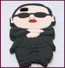 for iPhone 4 4G 4S Black White PSY Gangnam Style Soft Rubber Gummy Case Cover