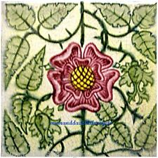 BEAUTIFUL WILLIAM DE MORGAN TUDOR ROSE DESIGN CERAMIC TILE COASTER