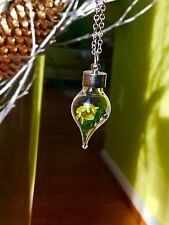 Elegant Holiday Inspired Water Drop Terrarium Pendant Necklace