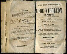 DROIT. NOUVEAU MANUEL DU CODE NAPOLEON EXPLIQUE. E. PICK ED. PARIS 1867