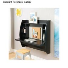 Wall Mount Black Floating Desk With Storage Office Space Saving Furniture New