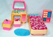 1978 Barbie Mod Furniture Bed Room Bedroom #2150 w/ Hard To Find Accessories