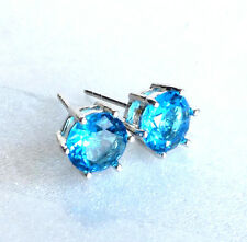 White Gold Plated Aqua Sea Blue Simulated Diamond Men Boy Stud Earrings 7.5mm