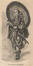 A9511 Un Samurai - Xilografia - Stampa Antica del 1906 - Engraving