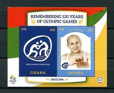 Ghana 2016 MNH Olympic Games 120 Yrs Rio Summer Olympics 2v S/S Wrestling Stamps