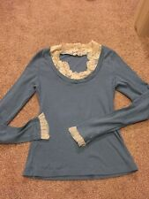 Anthropologie Moth Blue Sweater Layered Lace Vintage Cotton Small