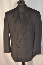 "black Tuxedo dinner double breast jacket size large 44"" Ascot formal James Bond"