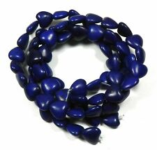 12mm Heart Chalk Turquoise Dyed Lapis Blue  Beads 15""