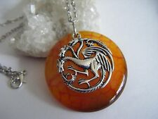 Game of Thrones 'FIRE & BLOOD' Khaleesi Dragon Vein Necklace Targaryen Sigil 333