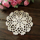 Chic Hand Crochet Flower Cotton Round Beige Doily