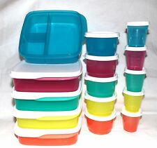 Tupperware 15-pc Set Lunch It Lunchables Divided Tupper Minis Snack Cups Midgets