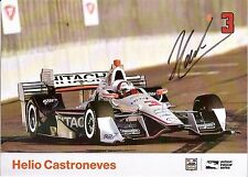 2016 HELIO CASTRONEVES signed INDIANAPOLIS 500 PHOTO CARD INDY CAR HITACHI