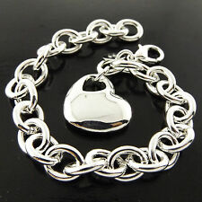 26 GENUINE REAL 925 STERLING SILVER S/F SOLID LADIES HEART CHARM BRACELET BANGLE