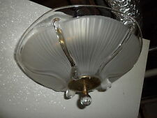 30s 40s Vtg ART DECO CHANDELIER Ceiling Fixture FROSTED GLASS SHADE
