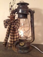 Old Rusty Electric Metal Decorated Lantern Country Primitive  Farmhouse Decor