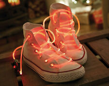 LUMINESCENT RED LED SHOE LACES - BE THE COOLEST KID ON THE BLOCK - BRAND NEW