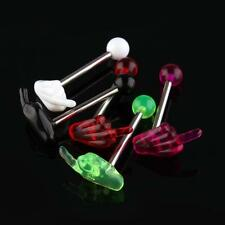 30 Multi Colors Acrylic Hand Tongue Bar Ring Barbell Body Piercing