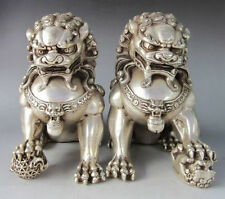 "9.8""Chinese Silver Bronze Fu Foo Dog Guardian lion Statue Pair"