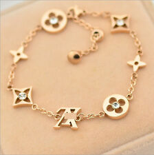 Stainless Steel 18K Rose Gold Flower Clover Charms Womens Bracelet Jewelry Gift