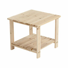Unfinished Fir Wood 2-Tier End Table