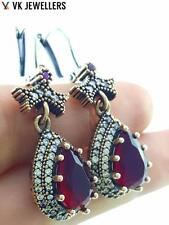 TURKISH OTTOMAN HANDMADE JEWELRY 925 STERLING SILVER RUBY EARRINGS E1470