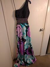 Betsy & Adam Black Floral Sequined One Shoulder Formal Prom Dress Gown 4