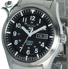 NEW SEIKO 5 SPORT MILITARY BLACK AUTO STAINLESS STEEL SNZG13K1