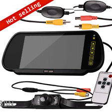 "7"" LCD Screen Car Rear View Backup Mirror Monitor+Wireless Reverse IR Camera 12V"