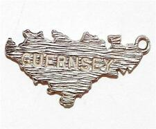 Vintage Sterling Silver Charm Guernsey Map In The British Isles (2.2g)