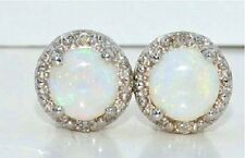 Natural Opal 6mm & Diamond Round Shape Stud Earrings 14Kt White Gold