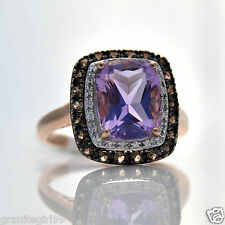 Genuine 3.32ct Emerald Cut Amethyst Topaz Diamond Halo Ring 10k Rose Gold Sz 7